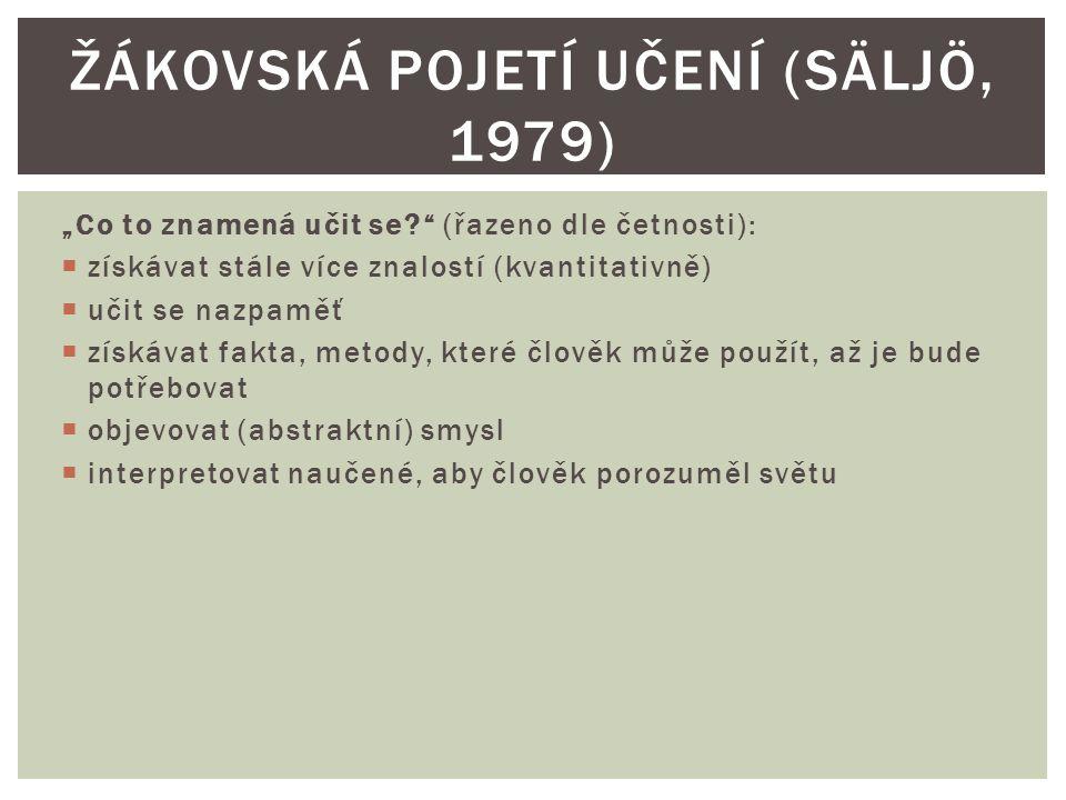 Žákovská pojetí učení (Säljö, 1979)