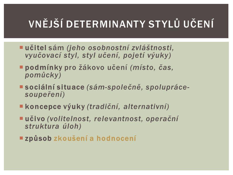 Vnější determinanty stylů učení