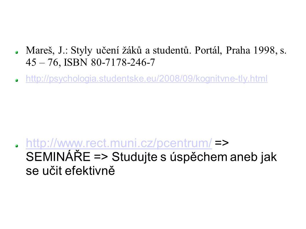 Mareš, J. : Styly učení žáků a studentů. Portál, Praha 1998, s