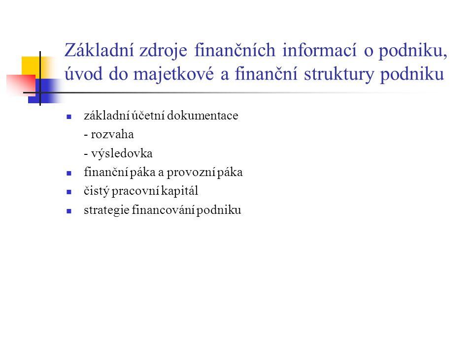 Základní zdroje finančních informací o podniku, úvod do majetkové a finanční struktury podniku