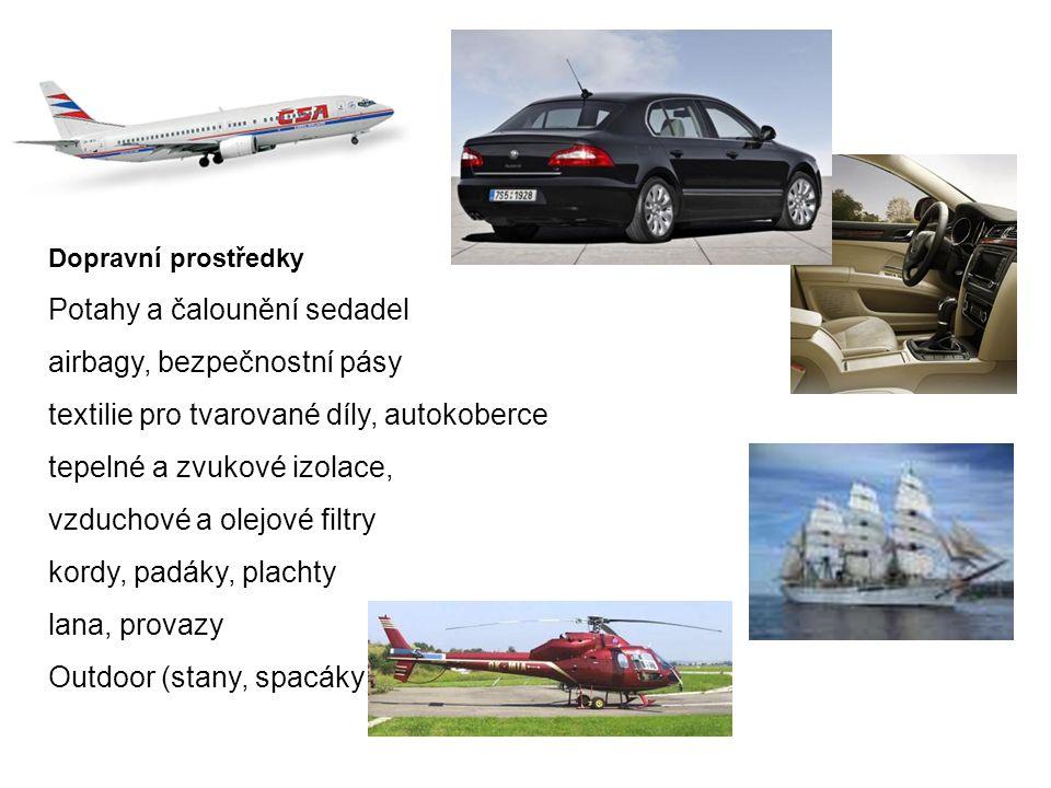 Potahy a čalounění sedadel airbagy, bezpečnostní pásy