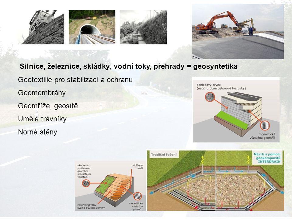 Silnice, železnice, skládky, vodní toky, přehrady = geosyntetika