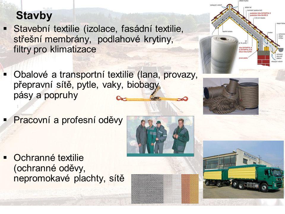 Stavby Stavební textilie (izolace, fasádní textilie, střešní membrány, podlahové krytiny, filtry pro klimatizace.