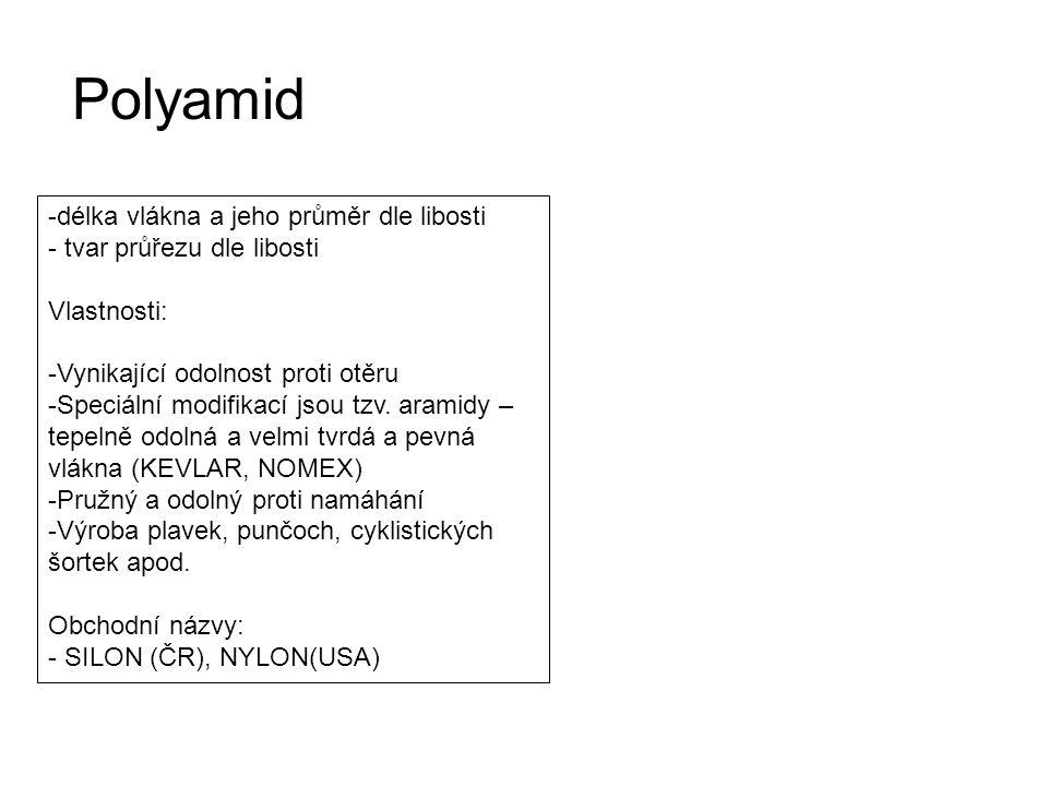 Polyamid délka vlákna a jeho průměr dle libosti