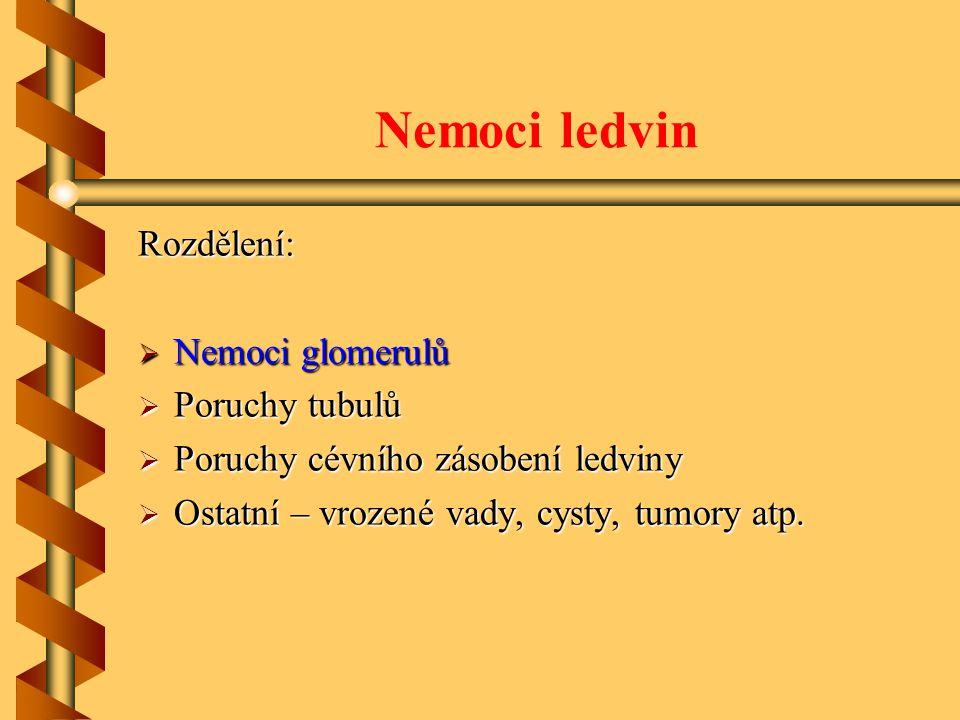 Nemoci ledvin Rozdělení: Nemoci glomerulů Poruchy tubulů