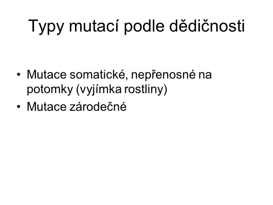 Typy mutací podle dědičnosti