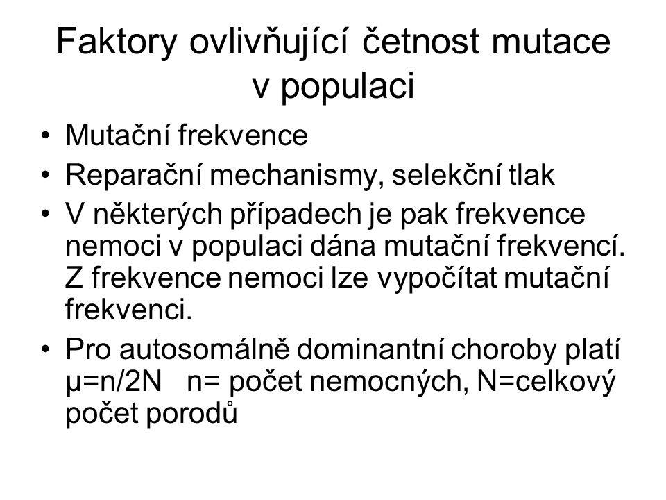 Faktory ovlivňující četnost mutace v populaci