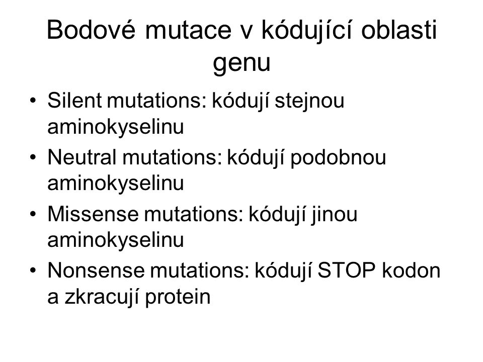 Bodové mutace v kódující oblasti genu