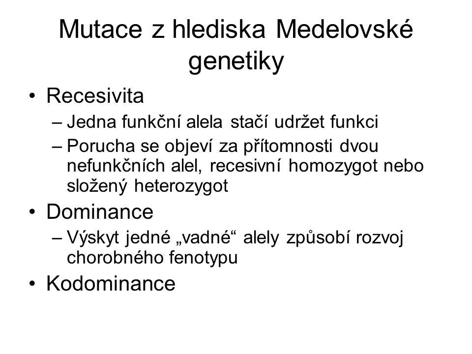 Mutace z hlediska Medelovské genetiky