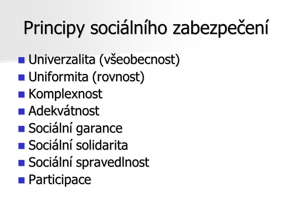 Principy sociálního zabezpečení
