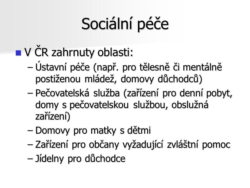 Sociální péče V ČR zahrnuty oblasti:
