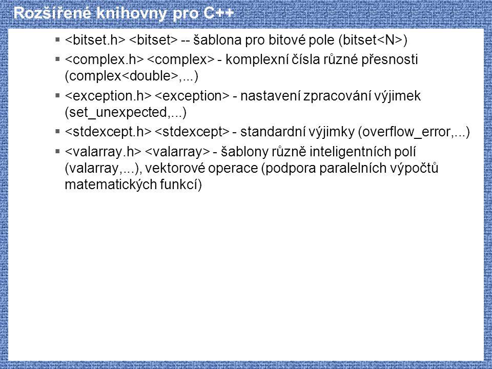 Rozšířené knihovny pro C++