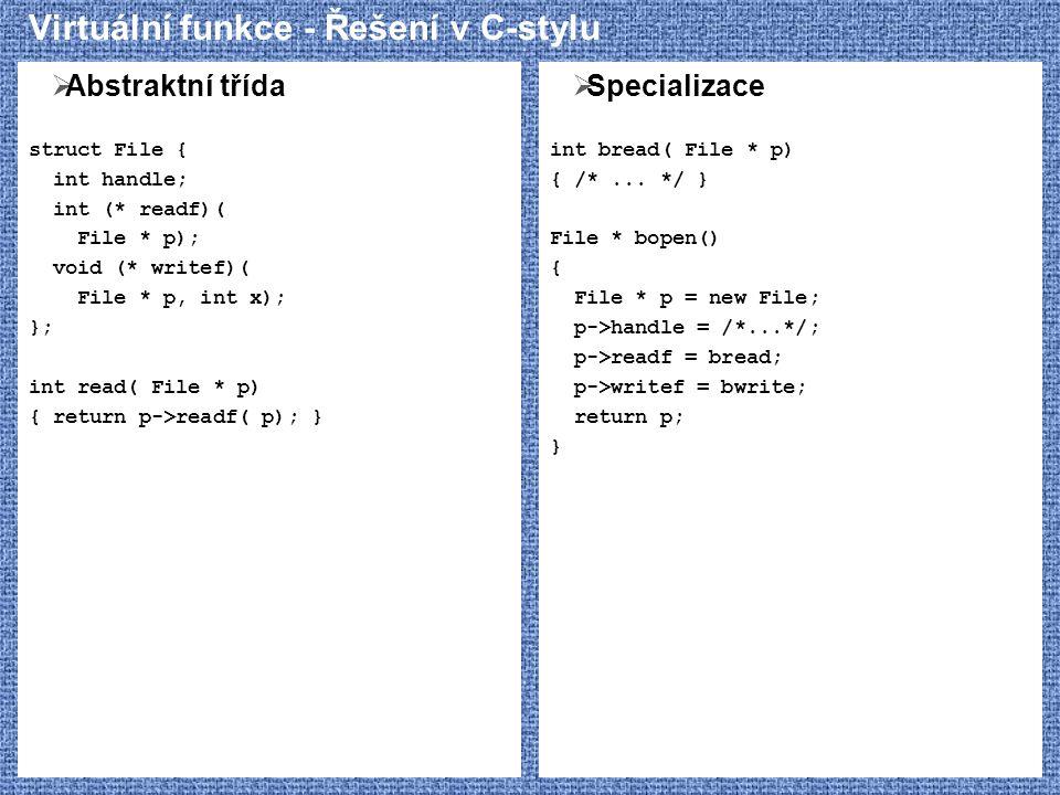 Virtuální funkce - Řešení v C-stylu