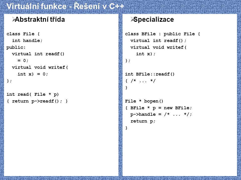 Virtuální funkce - Řešení v C++