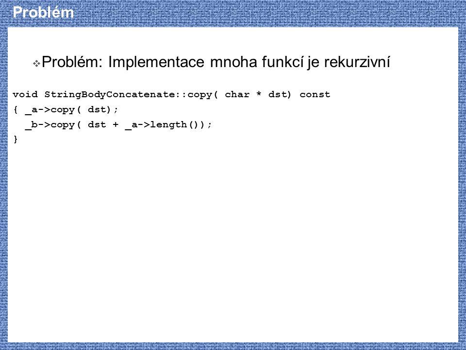Problém: Implementace mnoha funkcí je rekurzivní