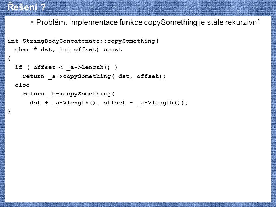 Řešení Problém: Implementace funkce copySomething je stále rekurzivní. int StringBodyConcatenate::copySomething(