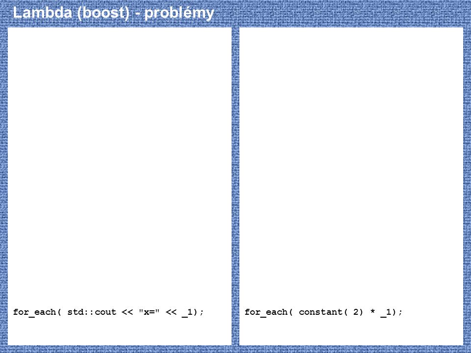 Lambda (boost) - problémy