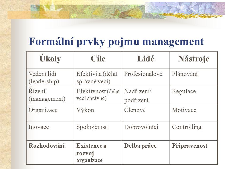 Formální prvky pojmu management