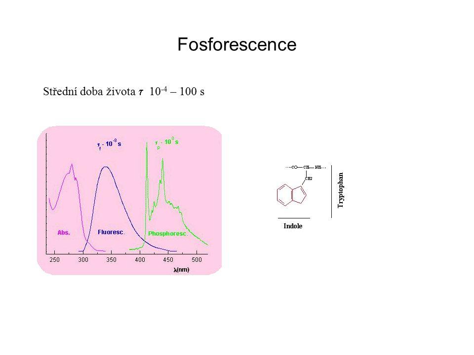 Fosforescence Střední doba života t 10-4 – 100 s
