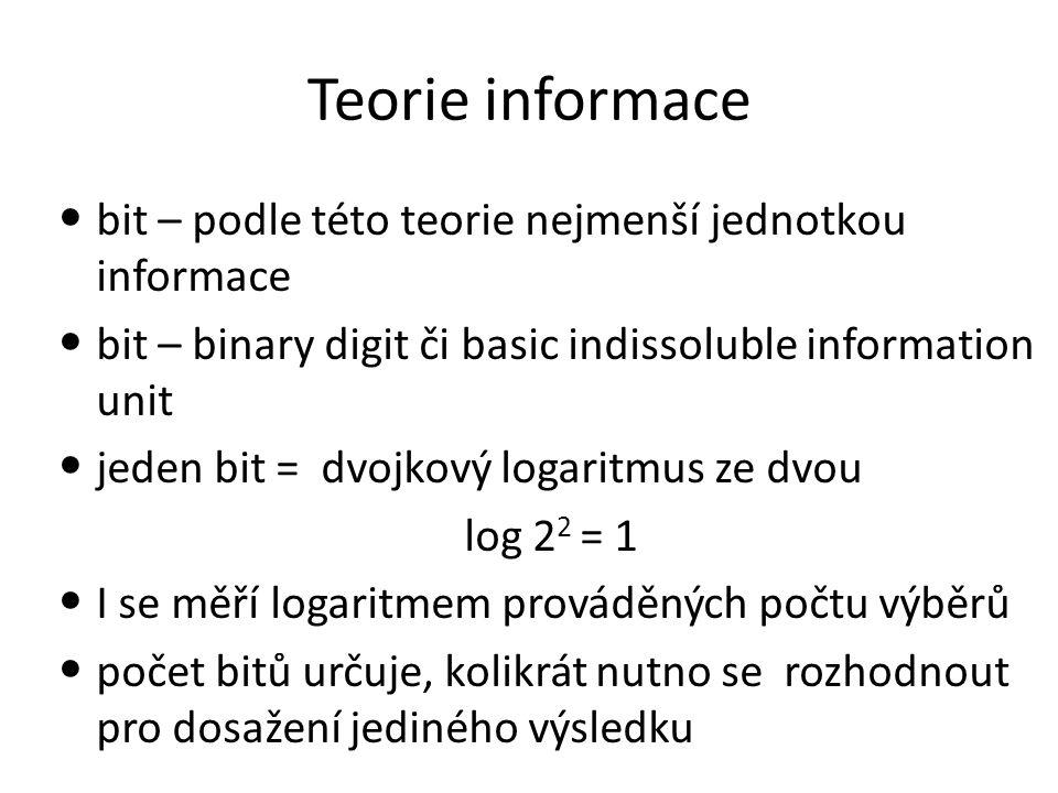 Teorie informace bit – podle této teorie nejmenší jednotkou informace