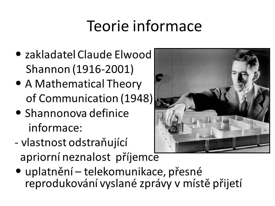 Teorie informace zakladatel Claude Elwood Shannon (1916-2001)