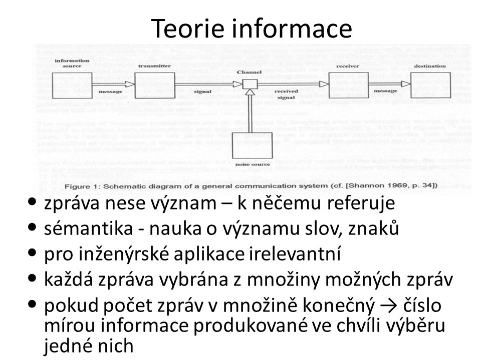 Teorie informace zpráva nese význam – k něčemu referuje