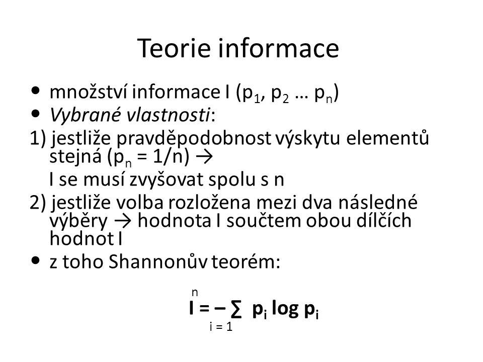 Teorie informace množství informace I (p1, p2 … pn)
