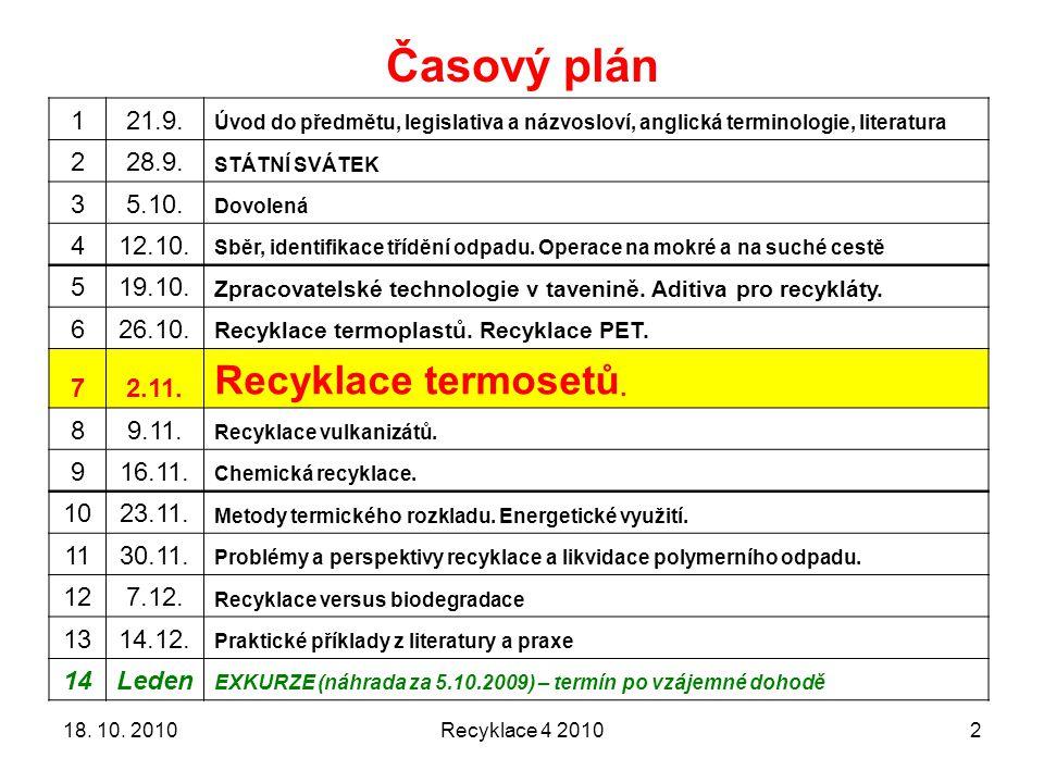 Časový plán Recyklace termosetů. 1 21.9. 2 28.9. 3 5.10. 4 12.10. 5