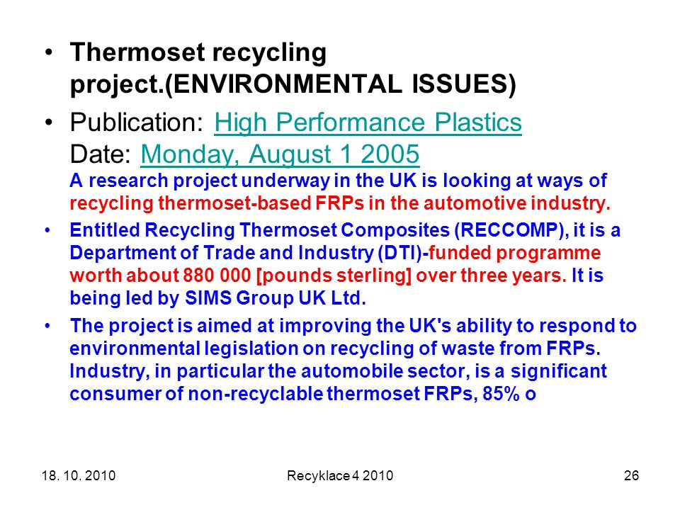 Thermoset recycling project.(ENVIRONMENTAL ISSUES)