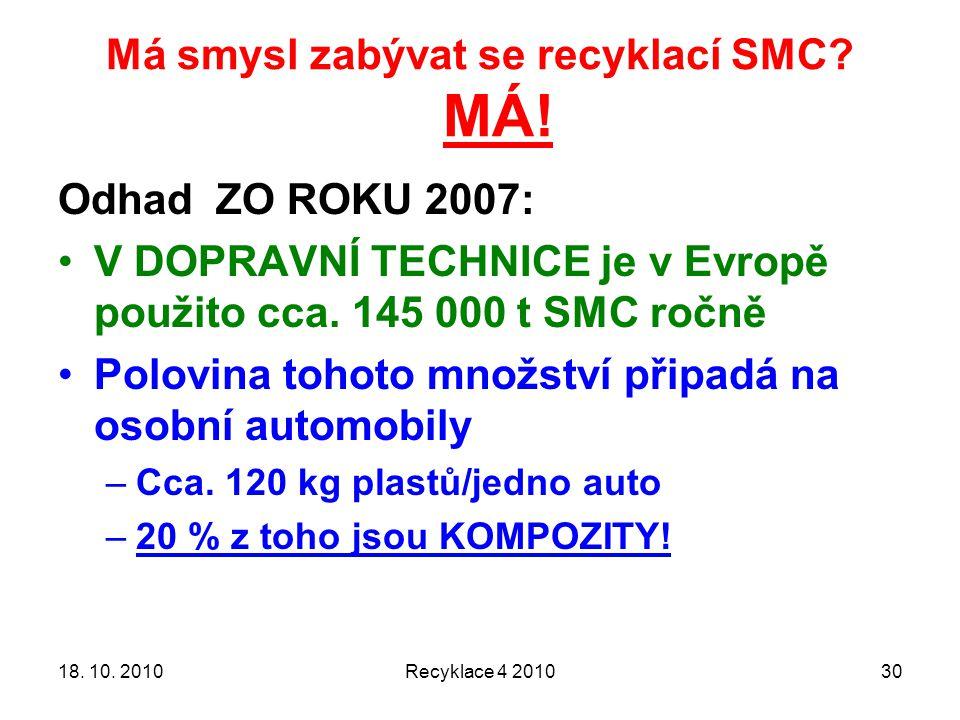 Má smysl zabývat se recyklací SMC MÁ!
