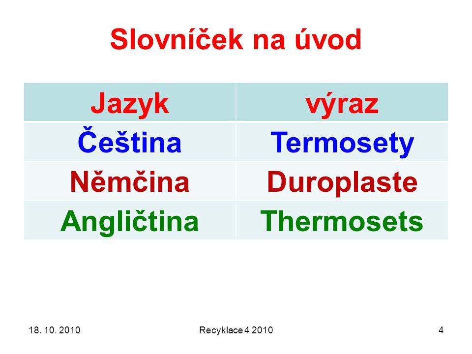 Slovníček na úvod Jazyk výraz Čeština Termosety Němčina Duroplaste