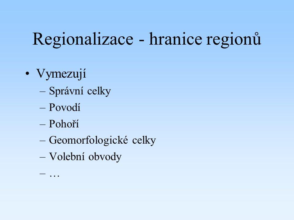 Regionalizace - hranice regionů