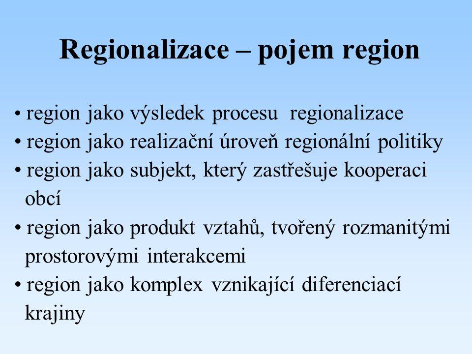 Regionalizace – pojem region