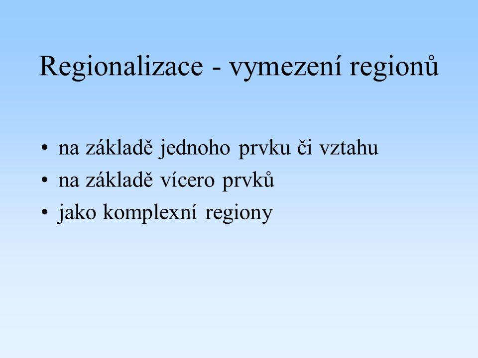 Regionalizace - vymezení regionů