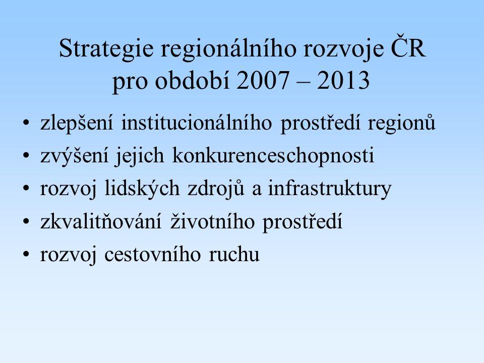 Strategie regionálního rozvoje ČR pro období 2007 – 2013