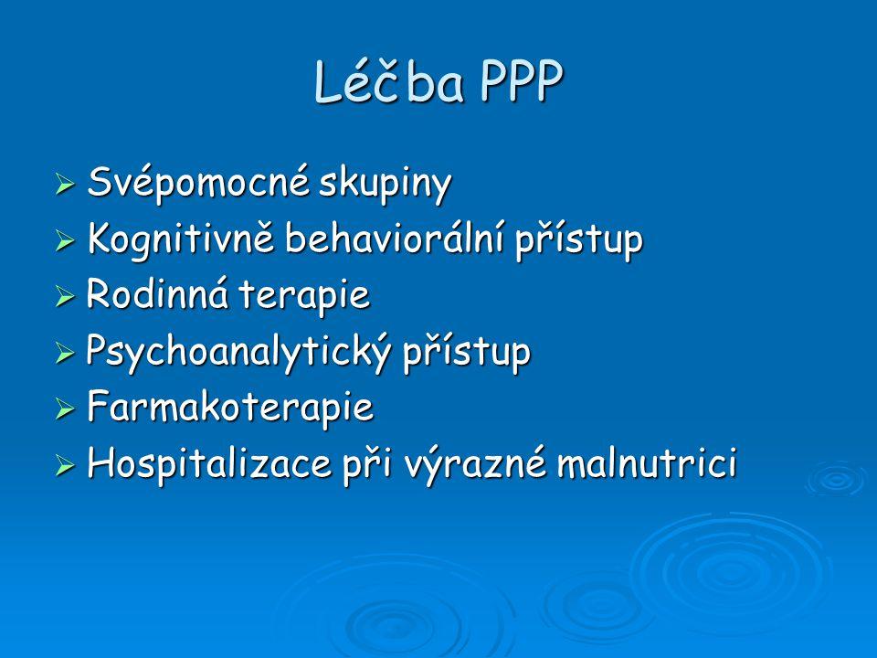 Léčba PPP Svépomocné skupiny Kognitivně behaviorální přístup