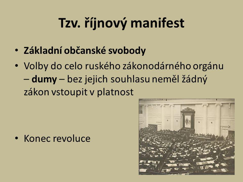 Tzv. říjnový manifest Základní občanské svobody