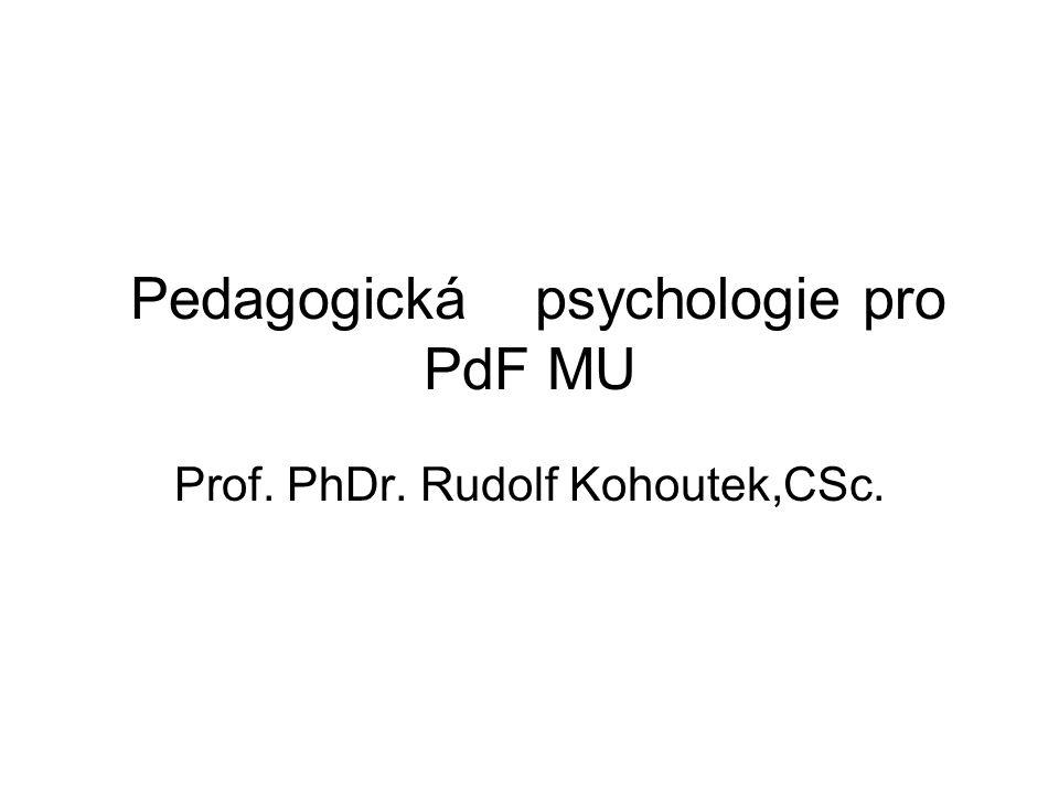 Pedagogická psychologie pro PdF MU