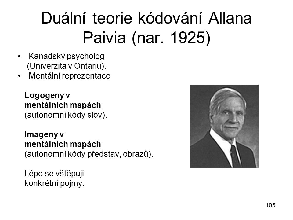Duální teorie kódování Allana Paivia (nar. 1925)