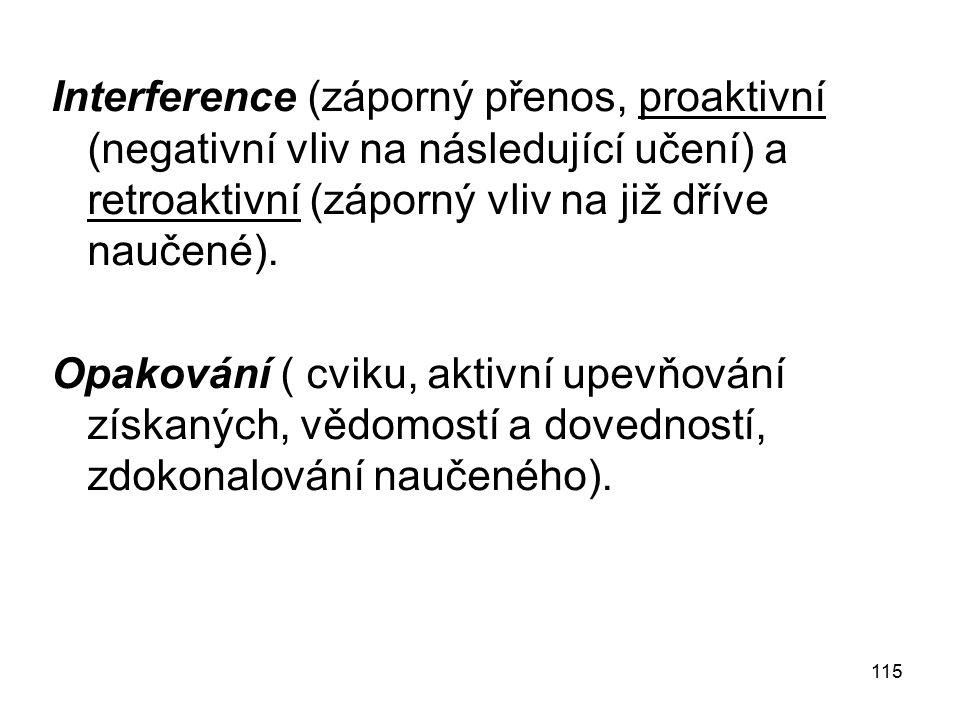 Interference (záporný přenos, proaktivní (negativní vliv na následující učení) a retroaktivní (záporný vliv na již dříve naučené).