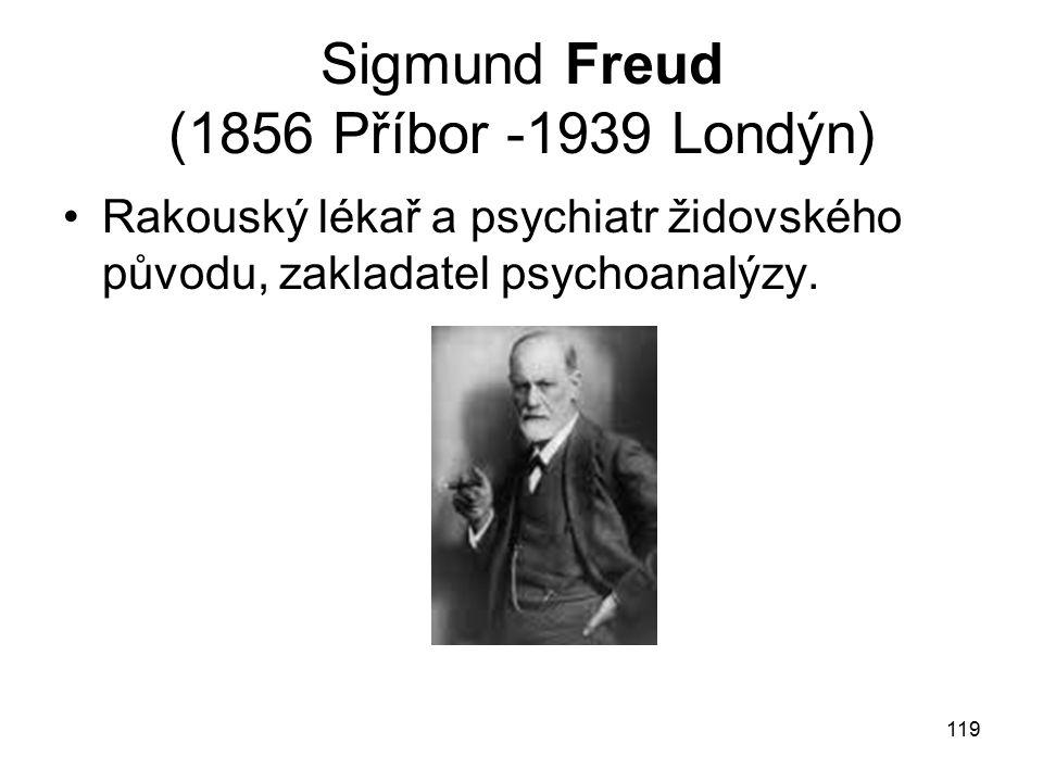 Sigmund Freud (1856 Příbor -1939 Londýn)