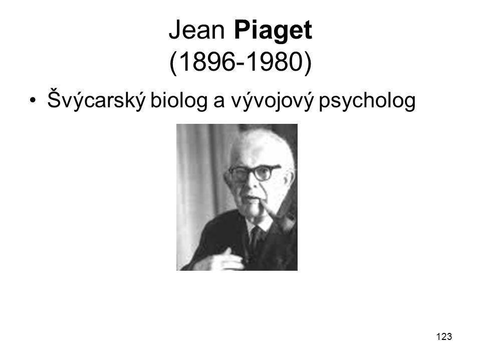 Jean Piaget (1896-1980) Švýcarský biolog a vývojový psycholog