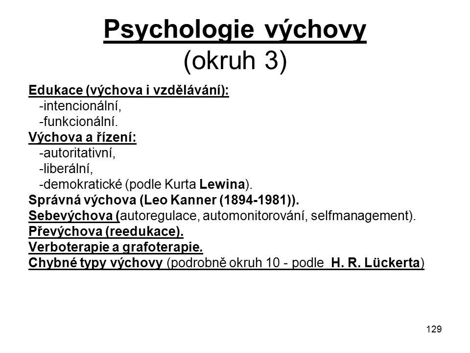 Psychologie výchovy (okruh 3)