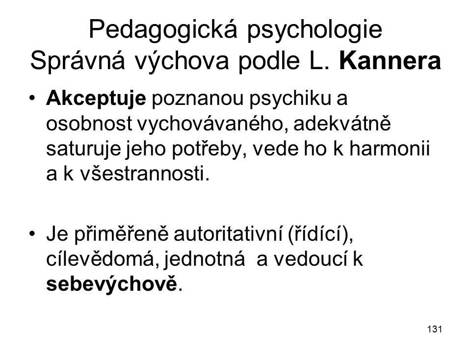Pedagogická psychologie Správná výchova podle L. Kannera