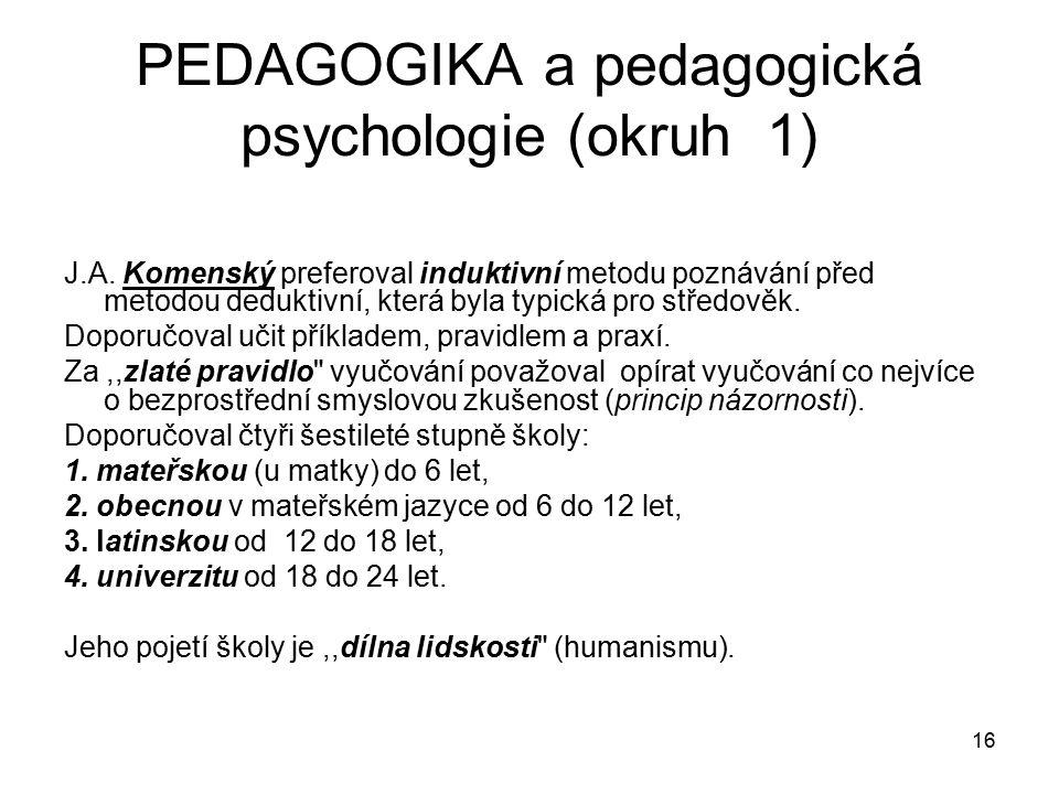 PEDAGOGIKA a pedagogická psychologie (okruh 1)