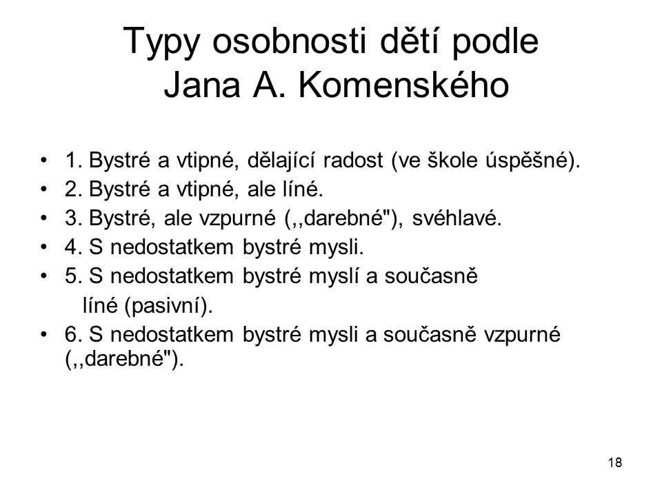 Typy osobnosti dětí podle Jana A. Komenského