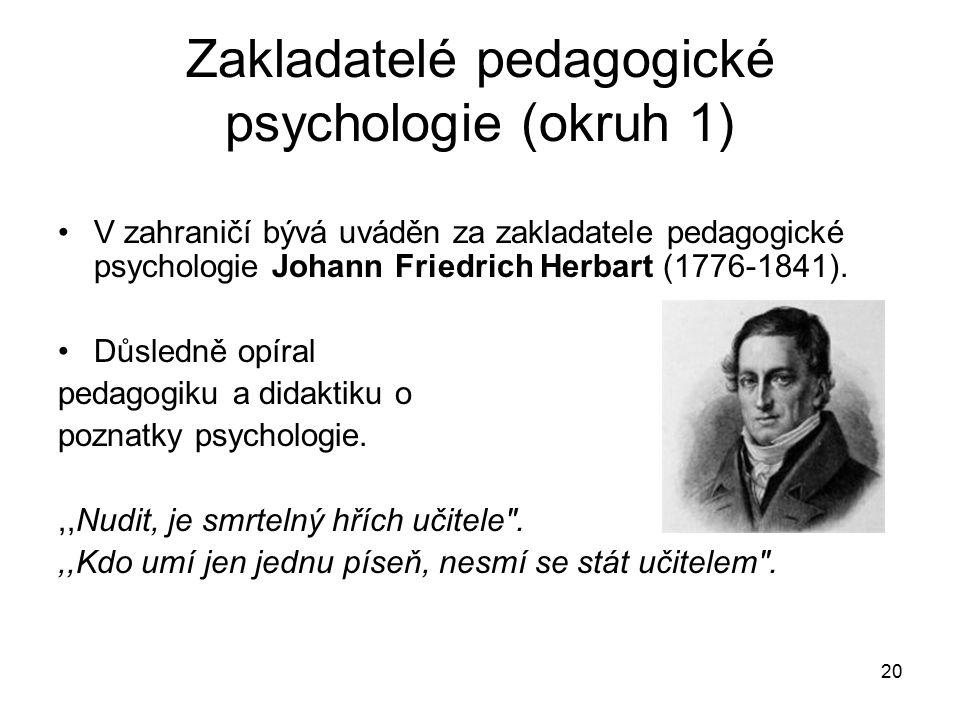 Zakladatelé pedagogické psychologie (okruh 1)