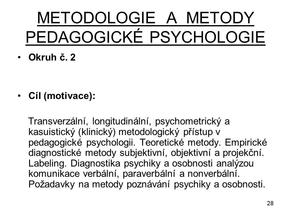 METODOLOGIE A METODY PEDAGOGICKÉ PSYCHOLOGIE