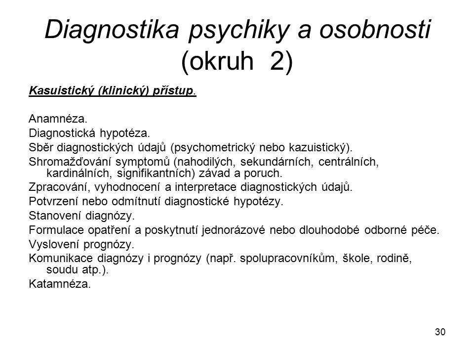 Diagnostika psychiky a osobnosti (okruh 2)