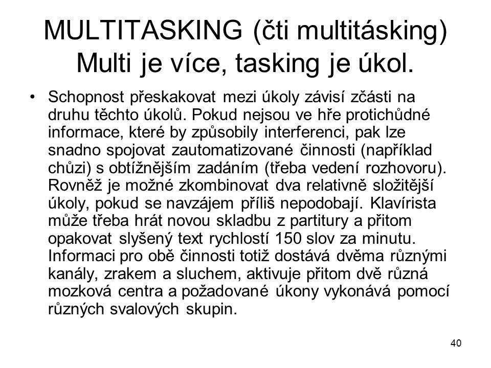 MULTITASKING (čti multitásking) Multi je více, tasking je úkol.